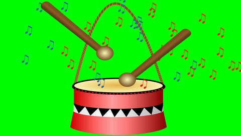 Animated drum with sticks and musical notes.Cute small red drum on green screen. Animación