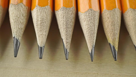 Sharp nibs of numerous pencils. Macro dolly video Live Action