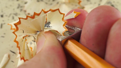 Sharpening a pencil, extreme close up shot Footage