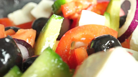 Greek vegetable and cheese salad close up dolly shot, racking focus Footage