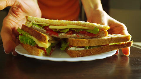 Woman serving cut sandwich with salad leaf, spread, cherry tomatoes and cheese Footage