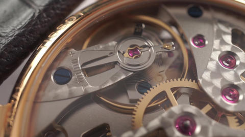 Macro dolly video of wrist watch mechanism Footage