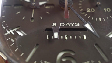 Macro dolly shot of power reserve indicator of the wrist watch Footage