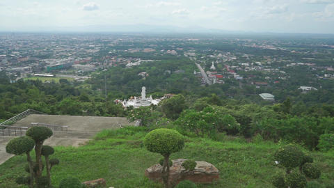 Overview pan shot of Thai city Songkhla Footage