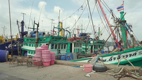 Songkhla (Thailand) pier and moored fishing boats Footage