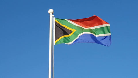 South African Flag Waving in Air of South Korea Live Action