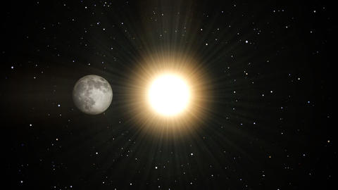 Moon to sun transition. Annular solar eclipse Animation
