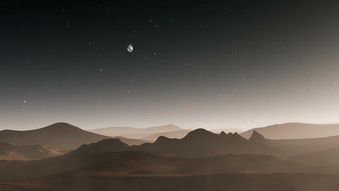 Martian red planet landscape, mountain with night sky Animation