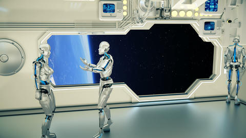 Androids on a spaceship arguing on background planet Earth. A futuristic concept CG動画素材