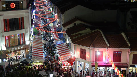 Chinese New Year street shops view in the evening, Singapore Footage