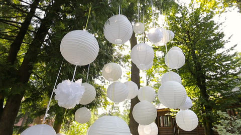 Beautiful decor for a party of white paper Chinese lanterns hanging in a tree Live Action