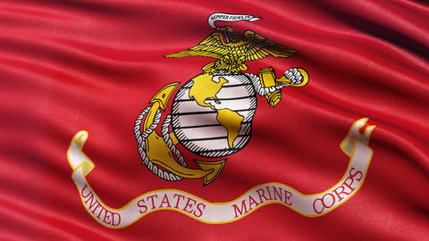 4K United States of America Marine Corps flag waving in the wind Animation