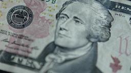 4K United States Ten Dollar Bill Blur stock footage