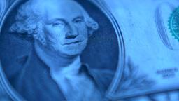 4K United States One Dollars Bill Blue Footage