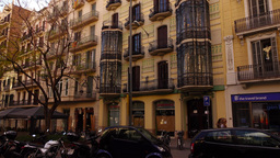 Barcelona buildings, Placa de Nicolas Salmeron at Carrer Grand de Gracia Footage
