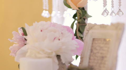 Beautiful wedding table decoration, flower arrangement and candles, picture fram Live Action