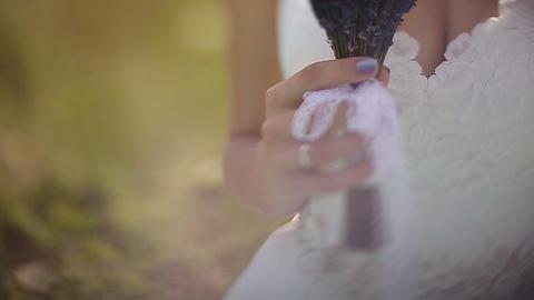 Wedding bouquet in hands of the bride.Beautiful wedding bouquet in hands of brid Footage