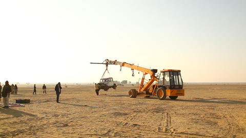 Crane with Car at Desert Footage
