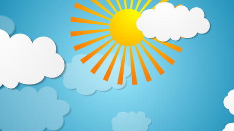 Summer video animation with sun and clouds Animation