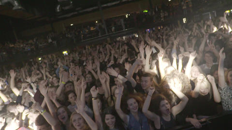 Nightclub Party Clubbers With Hands In Air Footage