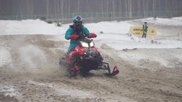 Snowmobile races in the winter season. Championship on snowmobiles January 27 영상물