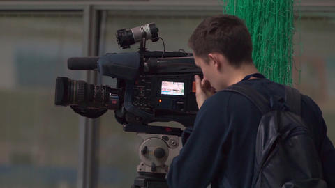 Sports camera operator at work. Water polo, Russia - Greece, November, 24, 2015 Footage