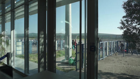 People leave the airport after arrival Footage