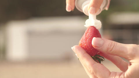 Strawberry with whipped cream Footage