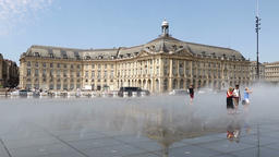 Water mirror fountain on Place de la Bourse in Bordeaux 영상물
