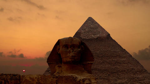 Timelapse. Sunrise over the pyramid of Cheops and Sphinx. Giza Egypt. v.3 Footage