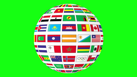 Rotating sphere with world flags isolated on green screen Footage