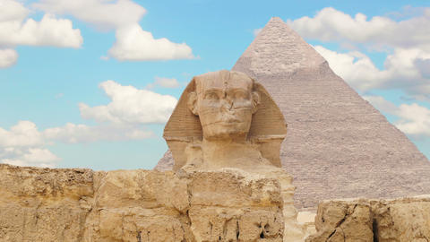 Timelapse. Clouds over the pyramid of Cheops and Sphinx. Giza Egypt. v.2 Footage