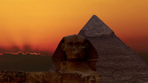 Timelapse. Sunrise over the pyramid of Cheops and Sphinx. Giza Egypt. v.4 Footage