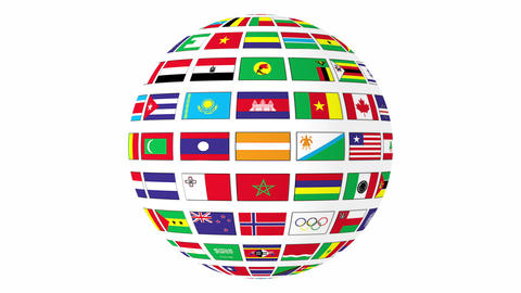 Rotating sphere with world flags isolated on white background Footage