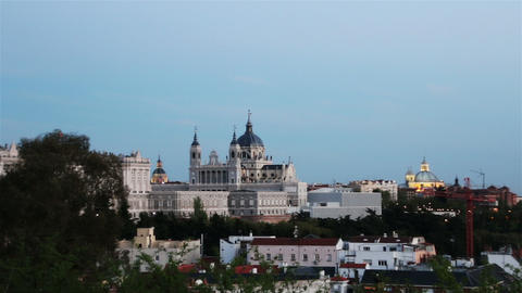 Almudena Cathedral, Madrid, Spain. Zoom Footage