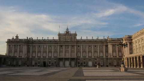 Royal Palace in Madrid in a summer evening, Spain. Zoom Footage
