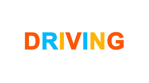 text DRIVING from letters of different colors appears behind small squares. Then Animation