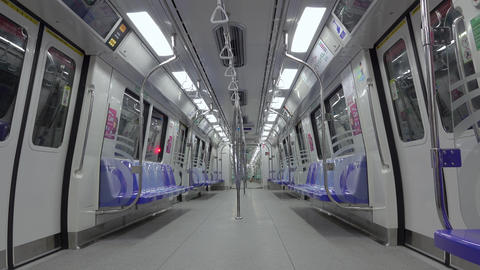 Empty Carriage of the Subway SMRT in Singapore Image