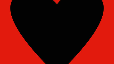 Red, black and white hearts enlarging on screen. Greeting card to Valentines day ビデオ