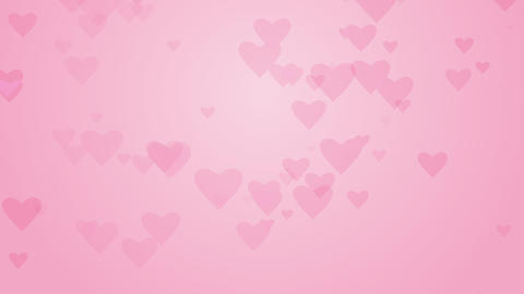 Pink hearts rising up on romantic background. Animated card for Valentine day Footage