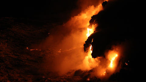 Hawaii Lava ocean - flowing lava reaches ocean on Big Island volcano eruption Live Action