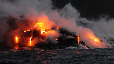 Hawaii Lava ocean close up - Lava running in the ocean from Kilauea volcano Live Action