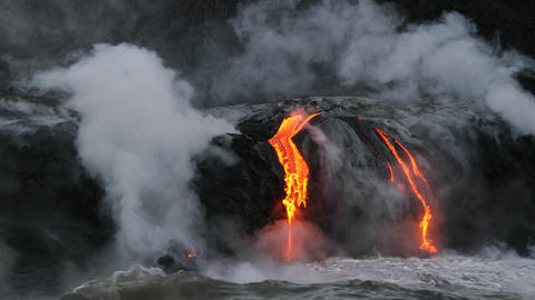 Lava ocean - flowing lava reaching ocean on Big Island, Hawaii volcano eruption Live Action