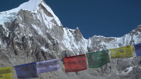 Prayer flags against the background of the Everest Footage