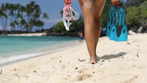 Beach snorkel woman having fun on beach holidays Footage