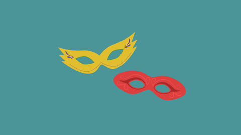 Carnival masks flat design animation icon. loop with alpha channel Animación