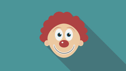 Happy clown face flat design animation icon. loop with alpha channel Animación