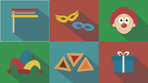 Purim holiday flat design animation icon set with traditional symbols and text Animación