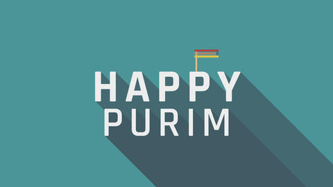 "Purim holiday greeting animation with gragger icon and english text ""Happy Animación"