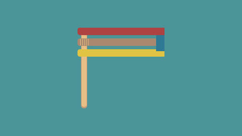 Purim holiday gragger flat design animation icon. loop with alpha channel 애니메이션